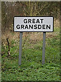 TL2556 : Great Gransden Village name sign by Adrian Cable