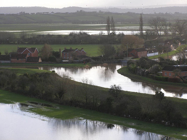 Junction of the Rivers Parrett and Tone from Burrow Mump