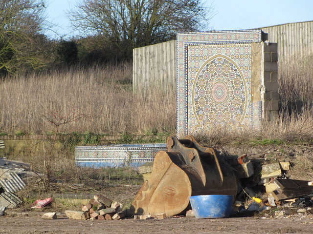 Mosaic Wall at back of Gamnel Farm Demolition Site