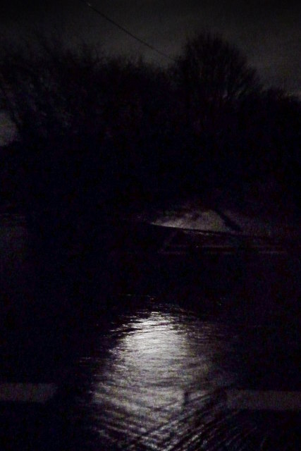 Moon-lit flooding in Hensting Lane