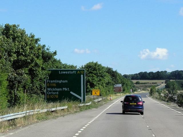 A12 near Wickham Market