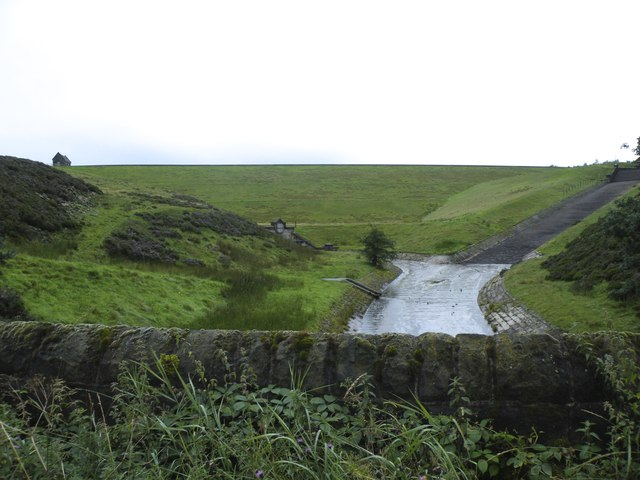 Midhope Reservoir Spillway and Run Off, in August 2012, viewed from Hagg Bridge, Midhope Hall Lane, near Upper Midhope