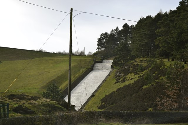 Midhope Reservoir Spillway, in February 2014, viewed from Hagg Bridge, Midhope Hall Lane, near Upper Midhope