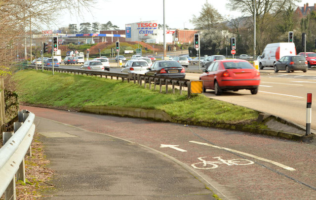 Cycle lanes and subways, Sydenham bypass, Tillysburn, Belfast - March 2014(5)