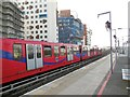 TQ3877 : DLR train at Greenwich station by Paul Gillett