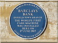 Photo of Enfield Barclays automated teller machine blue plaque