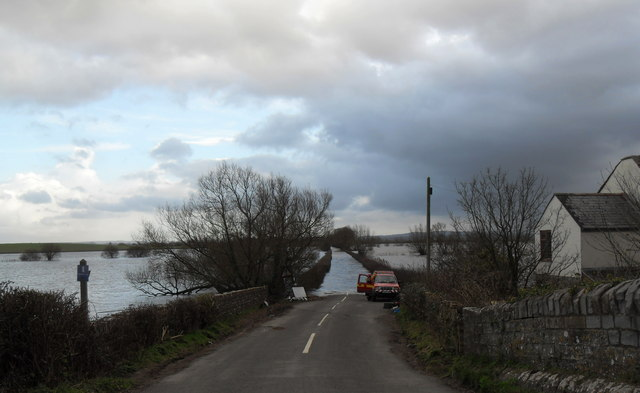 Flooded road to Muchelney