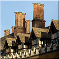 TL4457 : Penthouses and chimney stacks in  Old Court, Peterhouse, Cambridge by Roger  Kidd