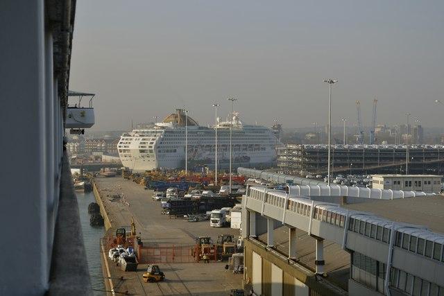 P&O's Oceana docked at the Ocean Cruise Terminal, viewed from P&O's Oriana docked at the QEII Cruise Terminal, Southampton - 1