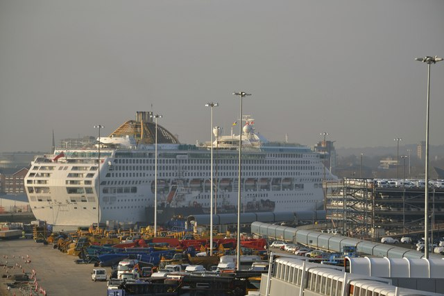 P&O's Oceana docked at the Ocean Cruise Terminal, viewed from P&O's Oriana docked at the QEII Cruise Terminal, Southampton - 2