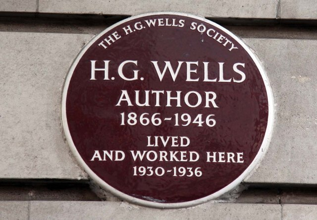 H. G. Wells brown plaque - H. G. Wells  author  1866-1946  lived  and worked here  1930-1936