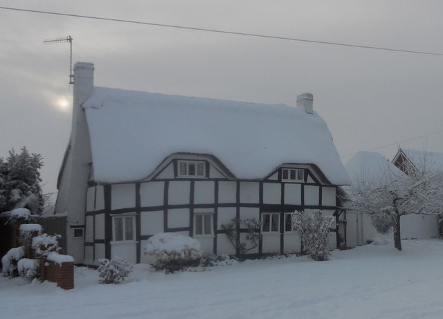 Cottage in the Snow, Church Street, Wyre Piddle, near Pershore