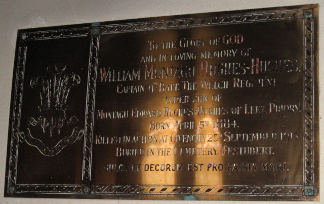 Memorial Plaque to Captain William Montagu Hughes~Hughes