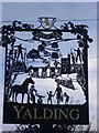 TQ6950 : Close up of Yalding Village Sign : Week 13