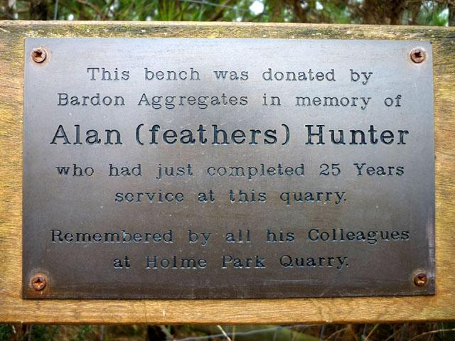 Memorial Plaque Holme Park Quarry