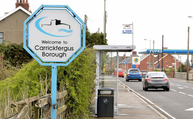 Council boundary sign, Greenisland (April 2014)