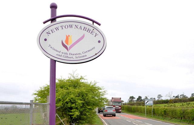 Newtownabbey Council boundary sign, Greenisland (April 2014)