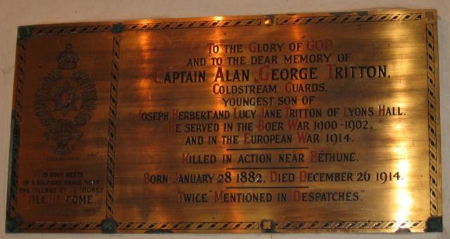 Memorial Plaque to Captain Alan George Tritton