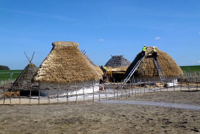 Neolithic houses under construction