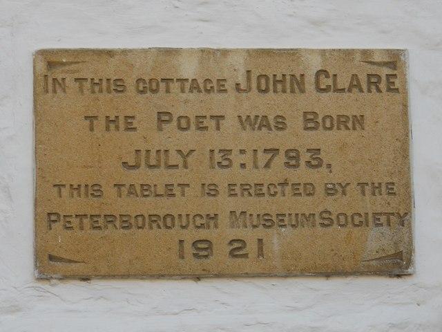 Photo of John Clare stone plaque