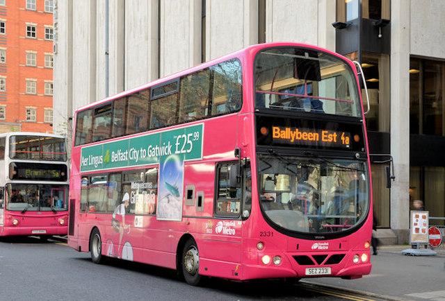 Giro d'Italia Metro bus, Belfast (April... © Albert Bridge :: Geograph Britain and Ireland