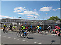 TQ3776 : Cycle bridge over the DLR at Connington Road by Stephen Craven