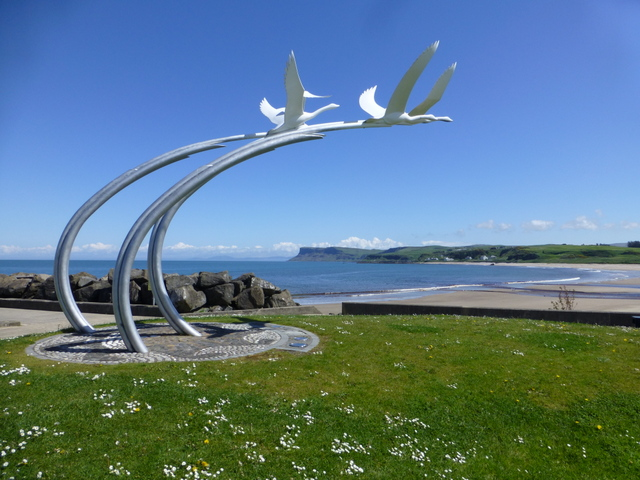 May Calendar Page : Flying birds sculpture ballycastle kenneth allen cc by