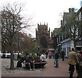 SJ6552 : Church and town square by Martin Richard Phelan