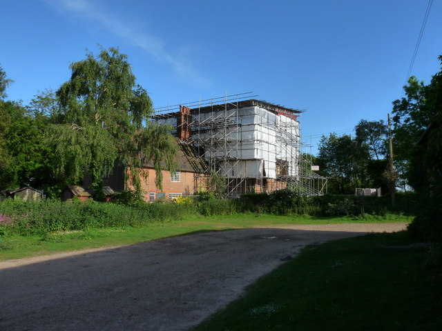 Upper Abbey Farm under repair (from Northwest)