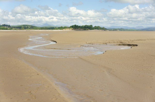 Channel meandering through the sand
