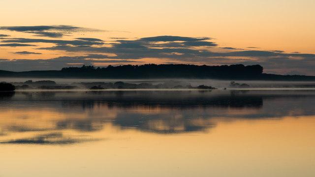 Evening mist, north end of Mochrum Loch
