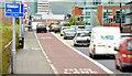 J3473 : Bus lane, East Bridge Street, Belfast (EWAY) - June 2014(1) by Albert Bridge