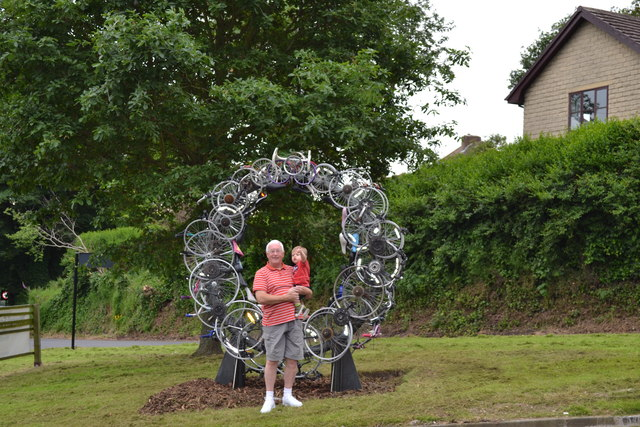 Visitors to the 'Up-Cycle' Sculpture, Kirk Edge Road, Worrall, near Oughtibridge