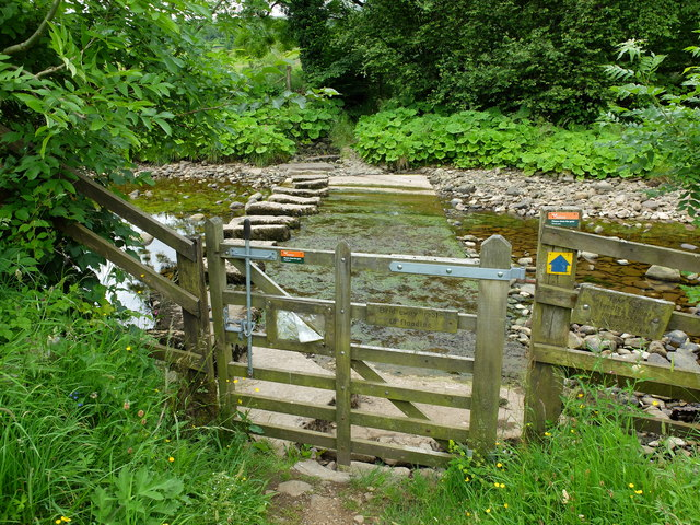 Stepping stones and bridleway crossing the River Dee
