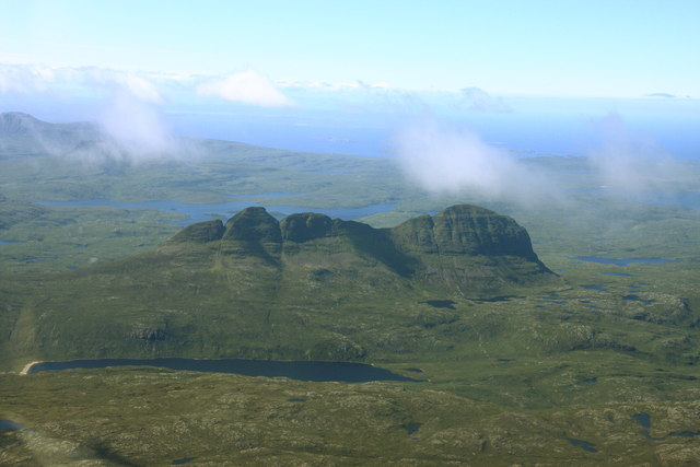 Aerial view of Suilven from the north west