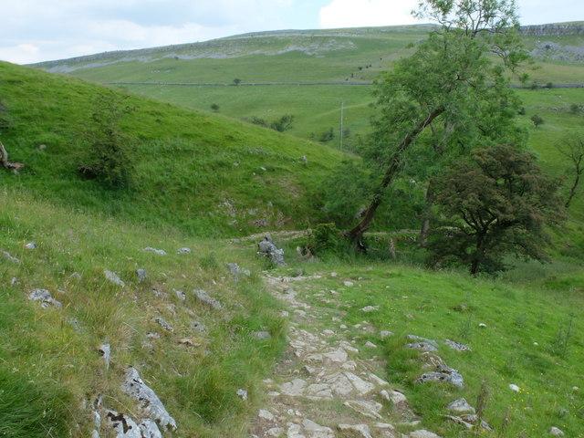 Footpath leading downhill towards Ingleborough Cave
