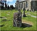 NS5679 : Strathblane Parish Kirkyard: standing stone by Lairich Rig