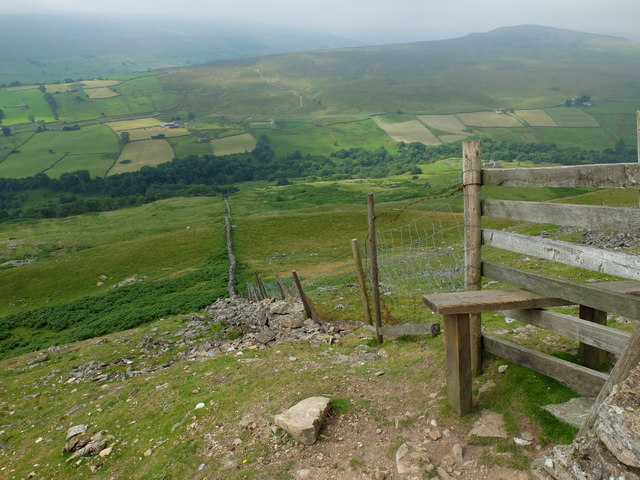 A stile literally on the edge of Fremington Edge