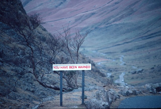 Old road sign on the west side of the Honister summit