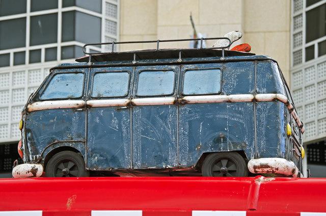 VW Camper atop a fast food van - Plymouth Barbican