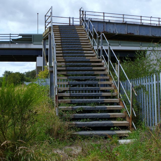Steps of footbridge over disused railway