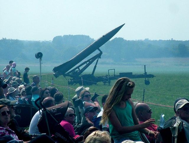 Old Buckenham Airfield, view west, with rocket