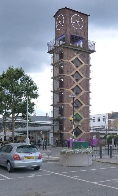 Clock tower, Chrisp Street Market