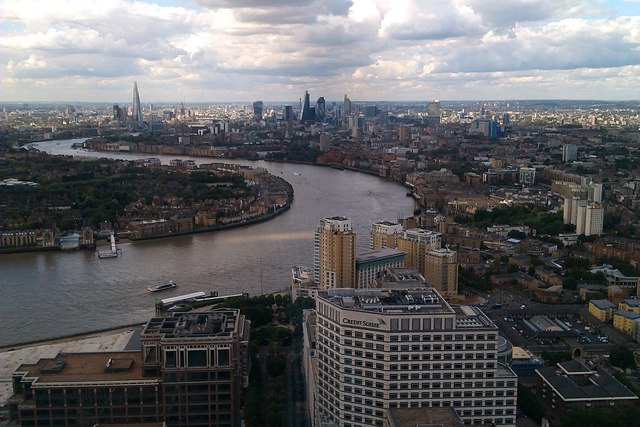 View of London and the Thames from One Canada Square