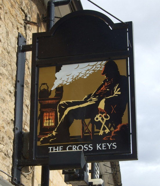 Sign for the Cross Keys pub, King's Cliffe