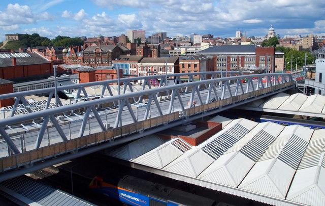 Railway Station and Friendship Bridge, Nottingham