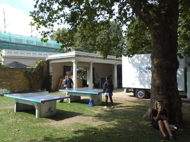 Table tennis in the grounds of the Old Royal Naval College