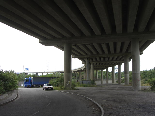 Road beneath the M4 flyover near Briton Ferry
