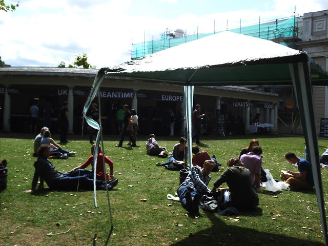 Beer festival in the grounds of the Old Royal Naval College