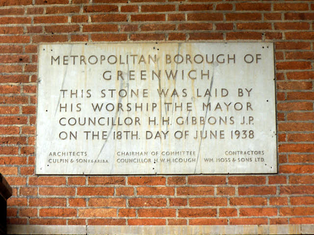 Dedication stone of the former Greenwich Town Hall